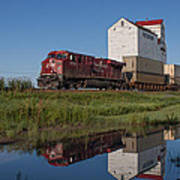 Train Reflection At Mortlach Saskatchewan Grain Elevator Poster by Steve Boyko