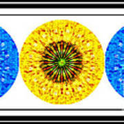 Mosaic Blue Circles With Yellow Poster