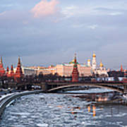 Moscow Kremlin In Winter Evening - Featured 3 Poster