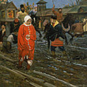 Moscow Street On A Public Holiday Poster