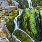 Mossy Waterfall At Snow Lake Poster
