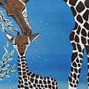 Mother And Baby Giraffe Poster