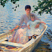 Mother And Child In A Boat Poster