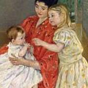 Mother And Sara Admiring The Baby Poster by Marry Cassatt