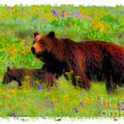 Mother Bear And Cub In Meadow Poster