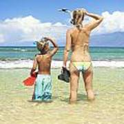 Mother Son Snorkel Poster
