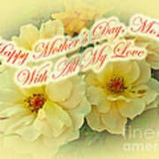 Mother's Day Card - Yellow Roses Poster