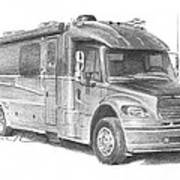 Motor Home Pencil Portrait Poster