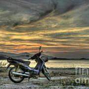 Motorbike At Sunset Poster