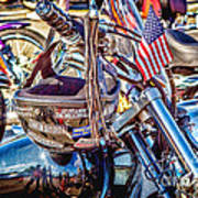 Motorcycle Helmet And Flag Poster
