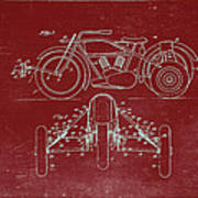 Motorcycle Support Patent Drawing From 1932 3 Poster