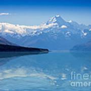 Mount Cook Reflecting In Lake Pukaki Poster