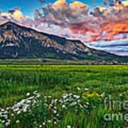 Mount Crested Butte Summer Sunset Poster