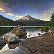 Mount Hood At Trillium Lake Sunset Poster