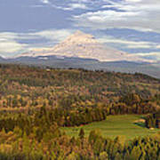 Mount Hood Over Sandy River Valley Poster