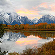 Mount Moran Reflection Sunset Poster