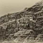 Mount Of The Temptation Monestary Jericho Israel Antiqued Poster