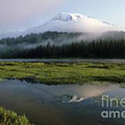 Mount Rainier Shrouded In Fog Poster