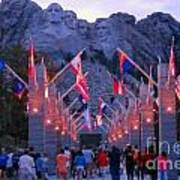 Mount Rushmore At Night Poster