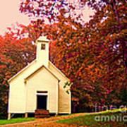 Mountain Church In Fall Poster