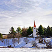 Mountain Church In Winter Poster