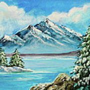 Mountain Lake In Winter Original Painting Forsale Poster