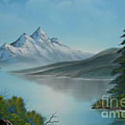 Mountain Lake Painting A La Bob Ross Poster
