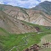 Mountain Landscape In The Tash Rabat Valley Of Kyrgyzstan Poster by Robert Preston