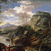 Mountain Landscape With Figures Poster