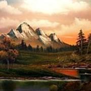 Mountain Meadow Dusk Poster