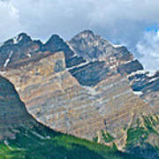 Mountain Peaks From Bow Summit Along Icefield Parkway In Alberta Poster