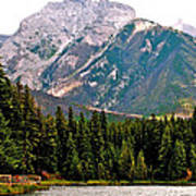 Mountain Peaks Over Johnson Lake In Banff Np-alberta Poster