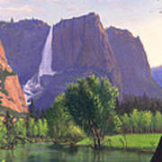 Mountains Waterfall Stream Western Mountain Landscape Oil Painting Poster