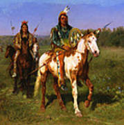 Mounted Indians Carrying Spears Poster