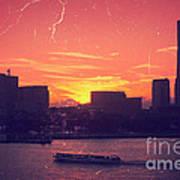 Mt Fuji At Sunset Over Yokohama Bay Poster by Beverly Claire Kaiya