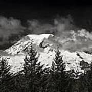 Mt Rainier Panorama B W Poster