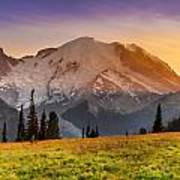 Mt. Rainier Sunset 2 Poster
