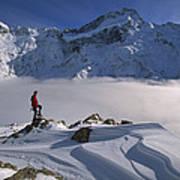 Mt Sefton Climber At Mueller Glacier Poster