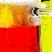 Mug Of Beer Painting Poster