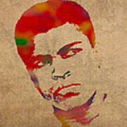 Muhammad Ali Watercolor Portrait On Worn Distressed Canvas Poster