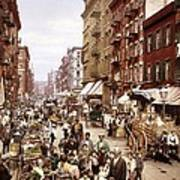 Mulberry Street, New York, Circa 1900 Poster