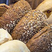 Multi Grain Bagels Closeup Poster