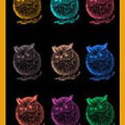 Multicolor Owl Poster