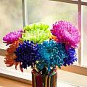 Multicolored Chrysanthemums In Paint Can On Window Sill Poster