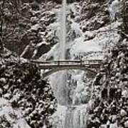 Multnoma Falls In Winter Poster