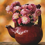 Mums In A Teapot Still Life Poster