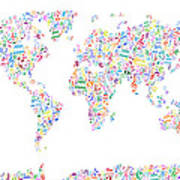Music Notes Map Of The World Poster by Michael Tompsett