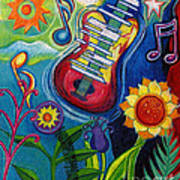 Music On Flowers Poster
