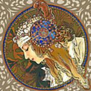 My Acrylic Painting As Interpretation Of Alphonse Mucha- Byzantine Head. The Blonde. Diagonal Frame. Poster by Elena Yakubovich