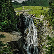 Myrtle Falls In Front Of Mt. Rainier Poster